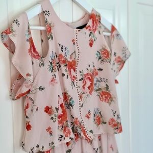 Mossimo Blush Floral Cold Shoulder Midi Dress